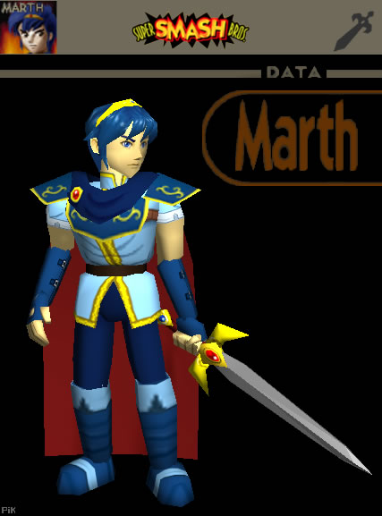Fanart of Marth in Super Smash Bros - N64 Squid